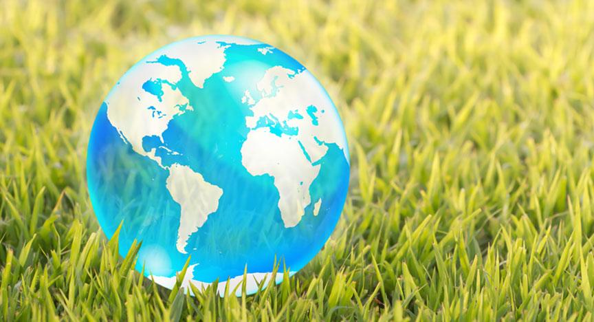 Globus als Symbol für Reise - Wiese als Symbol für Freiheit und draussen